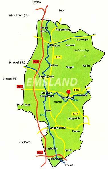 Emsland Karte.Lage